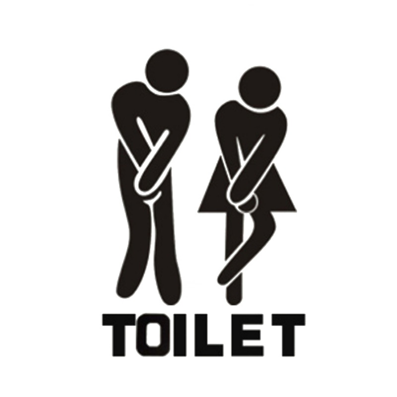 New Fun Toilet Entrance Sign Decal Vinyl Sticker For Shop Office Home Cafe Hotel Toilet Bathroom Wall Door Decoration