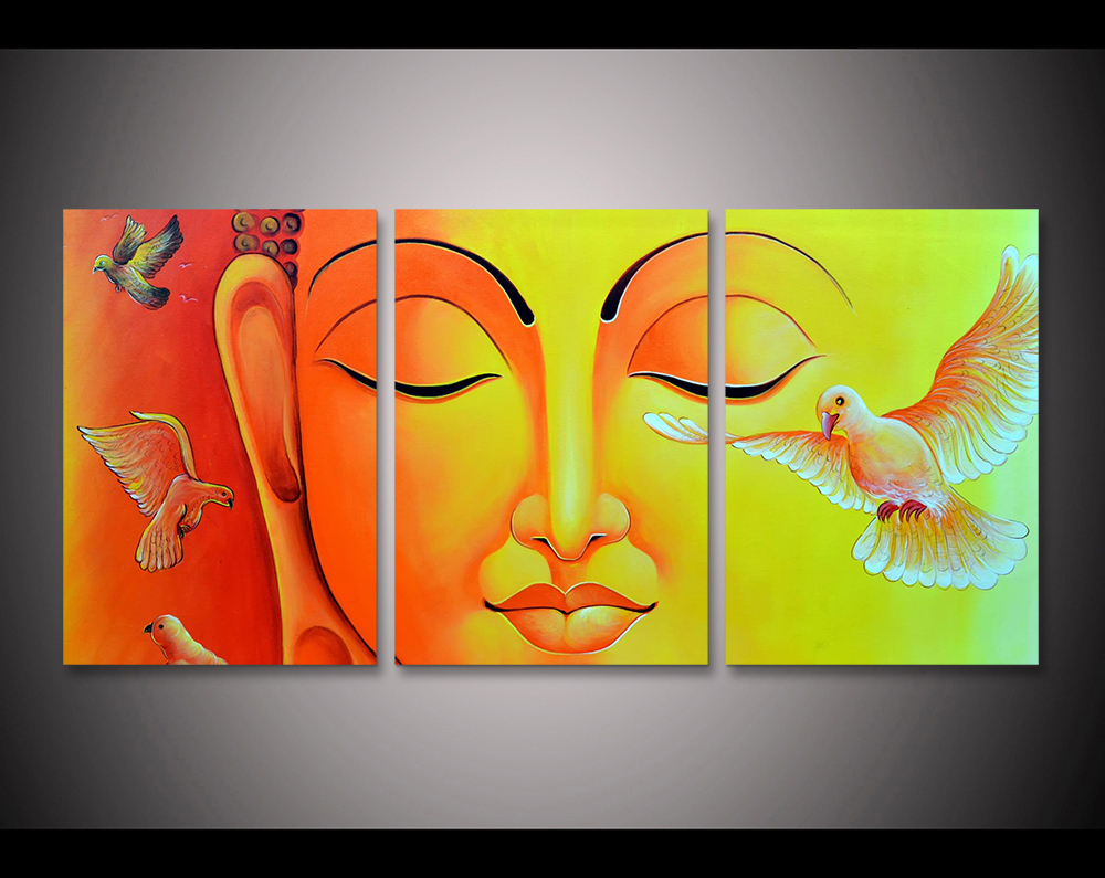 Framed 3pcs Abstract Yellow buddha Modern home decor Canvas Print ...