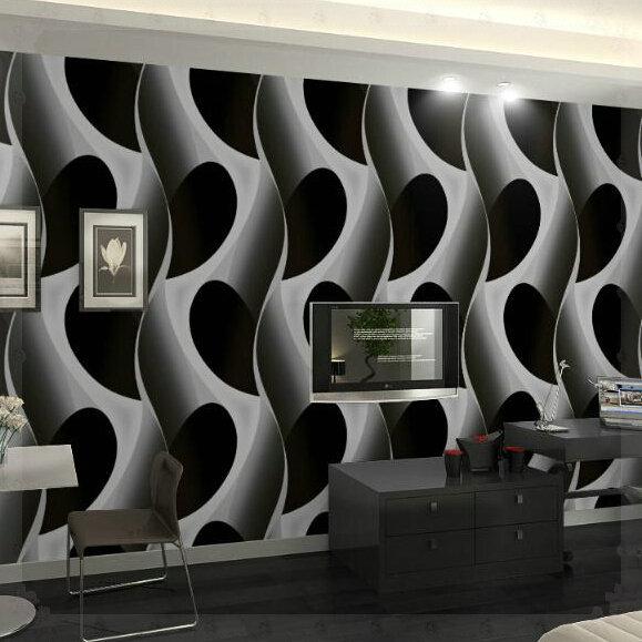 3d abstracto geom trica papel tapiz pvc gris negro de for Papel de pared negro