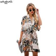 Whoholl Short Sleeve Shirt Dress Summer Chiffon Boho Beach Dresses Women Casual Floral Print A-line Mini Party Vestidos XL