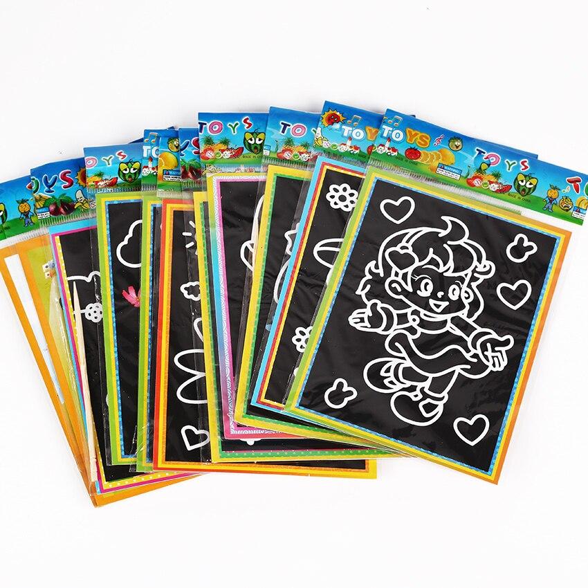 6 шт. детская Scratch Art Doodle Pad живопись карточки развивающие Раннее обучение рисованию книга для детей 13 см x 9,5 см