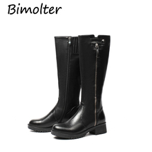 Bimolter  Women Genuine Leather Long boots Square Heel Mid-Calf Boots Quality Spring Autumn Female Retro Shoes Lady Casual NA017