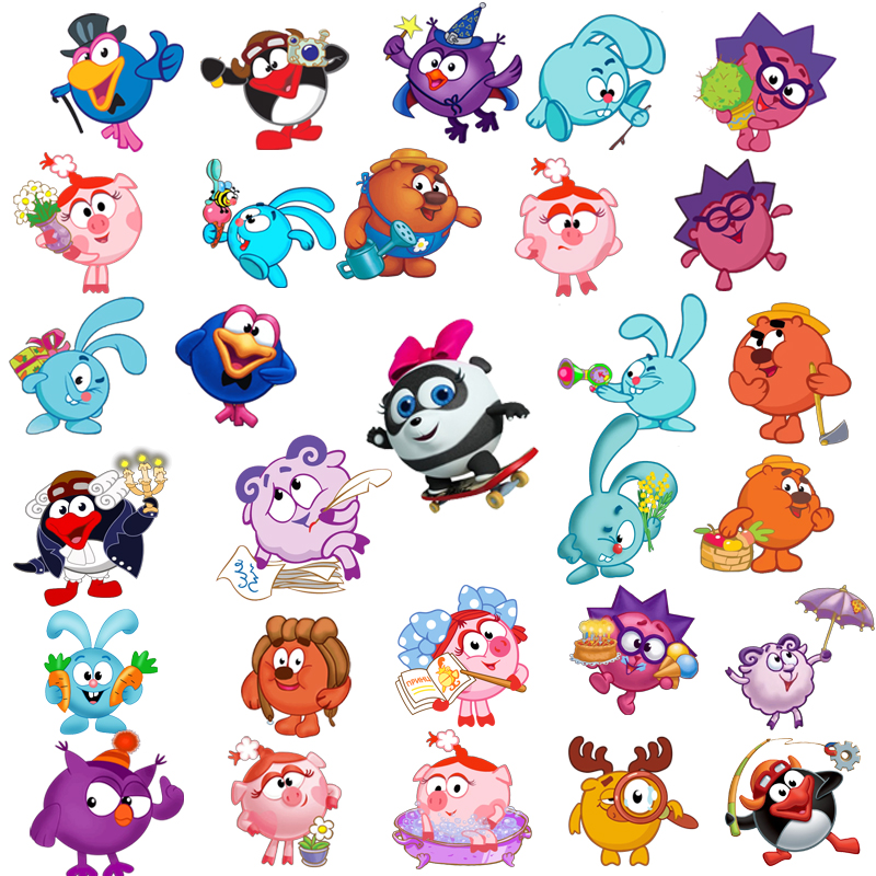 34Pcs Lot Malyshariki Smeshariki Russian Cartoon Kikoriki Styling Stickers Waterproof For Laptop Motorcycle Luggage Decal Toy