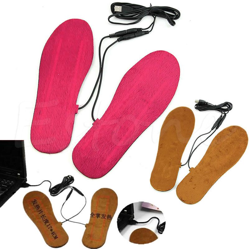 New Hot USB Electric Powered Heated Insoles For Shoes Boots Keep Feet Warm