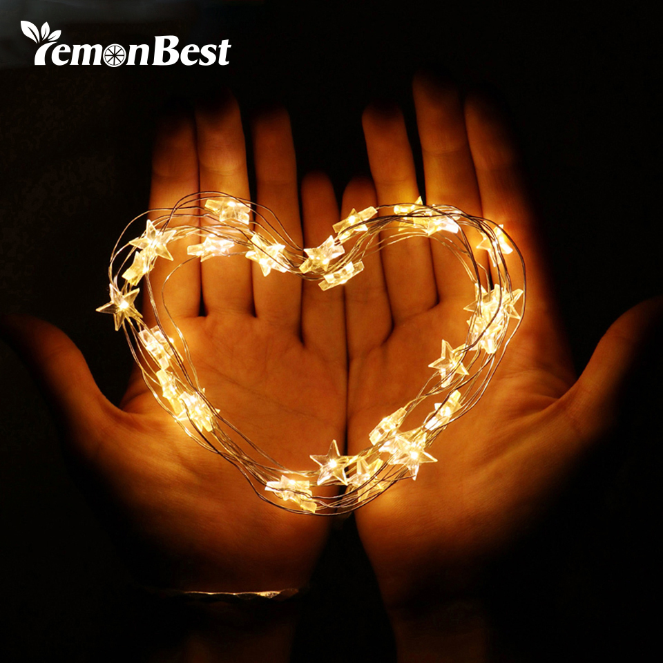 Lemonbest Copper Wire Star String Light For Glass Craft