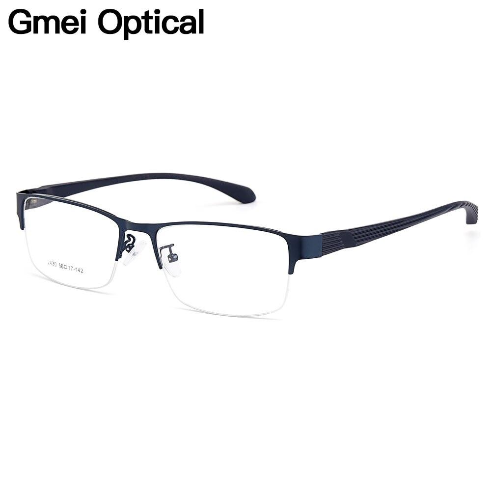 Gmei Optical Men Semi-Rimless Titanium Alloy Glasses Frames For Men Eyewear Flexible Legs IP Electroplating Spectacles Y2430