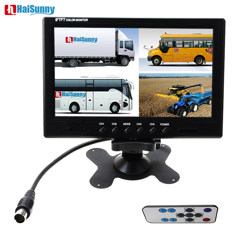 HaiSunny 9 Inch TFT LCD Car Monitor 4 Split Screen Headrest Rearview Monitor with RCA Connectors 6 Mode Display Remote Control