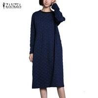 Plus Size 2018 ZANZEA Autumn Vintage Party Long Shirt Vestido Women O Neck Long Sleeve Pockets