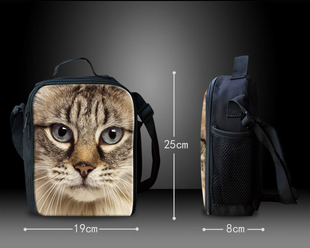 FORUDESIGNS Insulated Lunch Bag Kawaii Cats Dogs Picnic Pouch Storage Small School Lunchbag for Kids Thermal with Shoulder Strip
