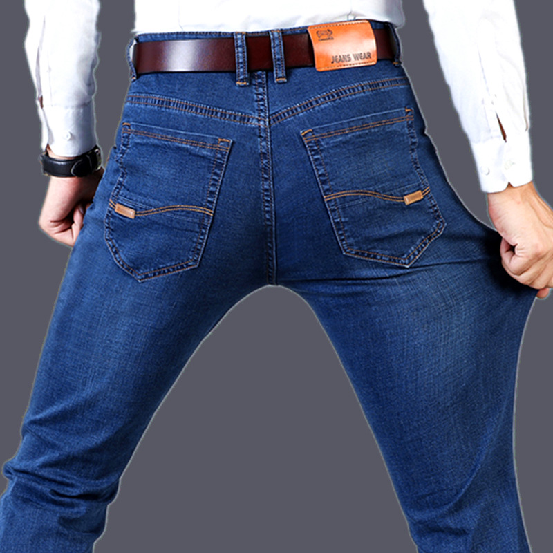 Spring  2019 Male New Elastic Straight Jeans Business