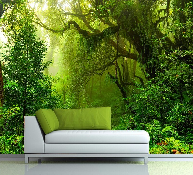 Custom Wallpaper 3D Tropics Forests Waterfall Tree Jungle Nature Scenery Modern Art Wall Sticker Living Room Bedroom Mural decor