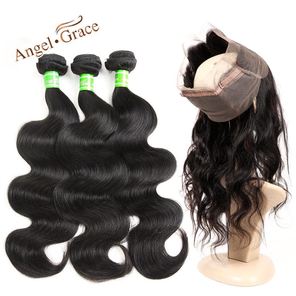 Angel Grace Lace Frontal Closure With Bundles Brazilian Body Wave 3 Bundles With Closure Human Hair