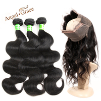 Ange Grâce Cheveux 360 Dentelle Frontale Fermeture Avec Bundles Brésiliens Vague de corps 3 Faisceaux Avec Fermeture Armure de Cheveux Humains Remy cheveux