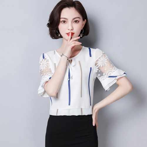 e5192997d29 2018 новые летние модные полосатые плюс Размеры Для женщин блузки кружева  короткий рукав Шифоновая блузка рубашка