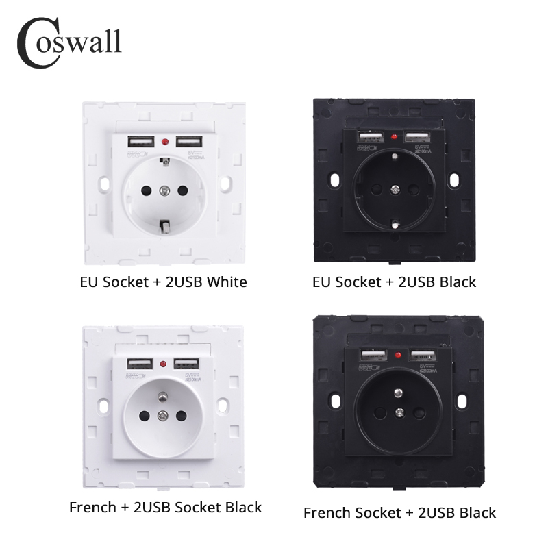 Coswall Dual USB Charging Port 2.1A Wall Charger Adapter 16A EU / Russia / French Standard Socket Power Outlet White Black