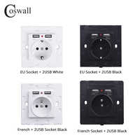 Coswall double Port de charge USB 2.1A adaptateur chargeur mural 16A EU/russie/prise de courant Standard française blanc noir