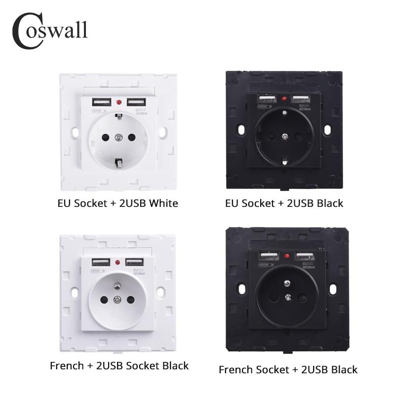 Coswall puerto de carga USB Dual 2.1A adaptador de cargador de pared 16A EU/Rusia/enchufe estándar francés blanco negro