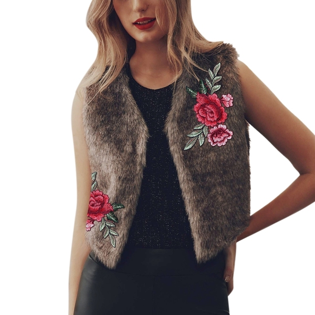 cd689f91839 Himanjie 2017 Sleeveless Women Luxury Faux Fur Coat Winter Floral Fur Vest  Embroidery Faux Fur Coat Jacket Warm Gilet Plus Size