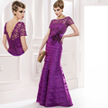 2015 Moda roxo longo em camadas de renda mãe da noiva vestidos de madrinha do Assoalho-Comprimento vestidos de festa a noite MMBD06