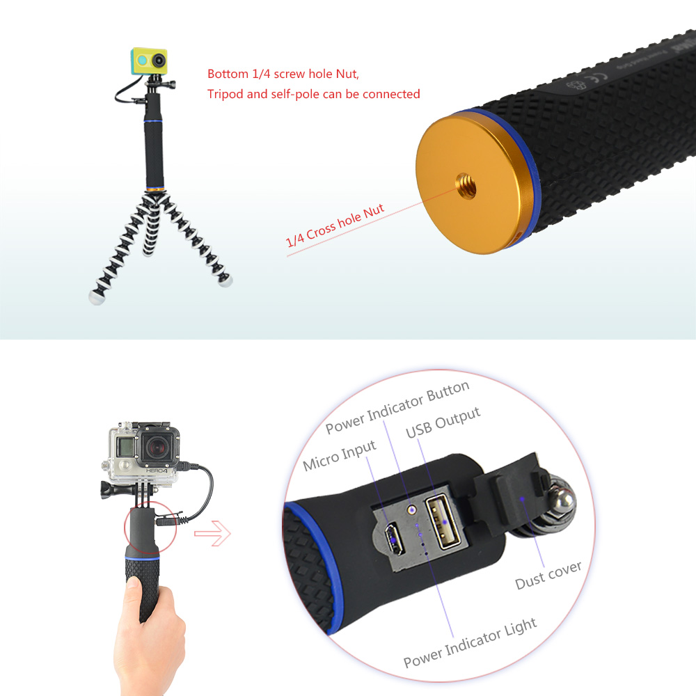 Image 5 - KingMa Handheld Power Hand Grip Portable Rechargeable Holder Handle Charger for Mobile Phone GoPro session4/3/3+ XiaoMi Camera-in Sports Camcorder Cases from Consumer Electronics
