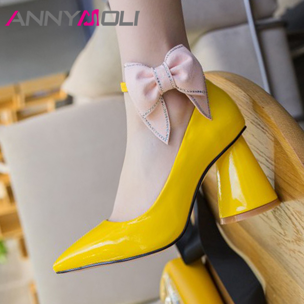 ANNYMOLI Women Mary Janes Shoes High Heels Crystal Strange Style High Heels Shoes Bow Pointed Toe