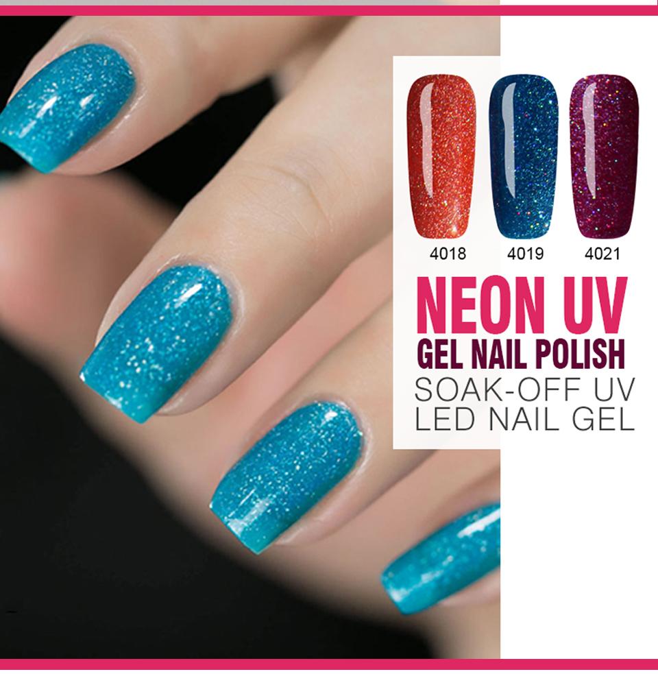 Huration Professional Long Lasting Neon Color Gel Nail Polish 7ML UV ...