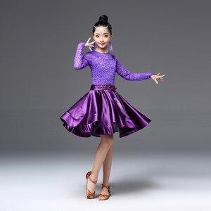 Image 3 - Latin dans elbise kızlar uzun kollu dantel standart balo salonu dans elbiseler çocuklar için performans giyim Salsa giysi için