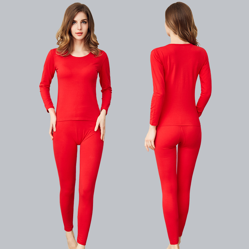 2018 Winter Long Johns Women Solid Underwear Warm Suits Round Neck Ropa Mujer Cotton Undershirt Plus Size Tmall Hot Selling