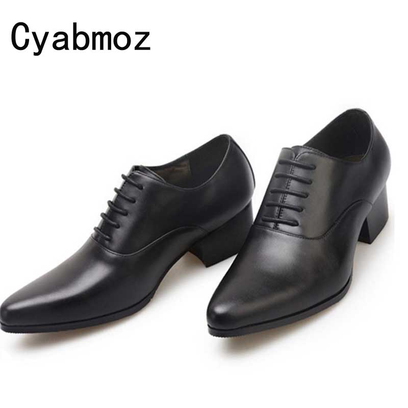 mens pointed toe lace up high heels fashion oxford shoes genuine leather party wedding dress shoes men height increase man shoes цена