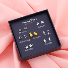 XIYANIKE Fashion One Week 925 Sterling Silver Stud Earring Simple Line Animal Seven Days Replaceable Sets For Girl Jewelry Gifts