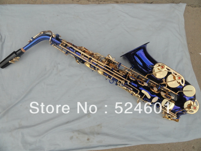 professional sax alto saxophone blue gold Saxofon high F saxophone blue brass plated musical Instruments professional red antique alto saxophone sax high f engraving with case