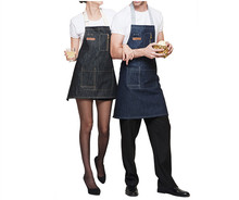 Cotton Denim Apron unisex chef kitchen waiter denim cowboy bib apron with pockets for men and women baking Aprons