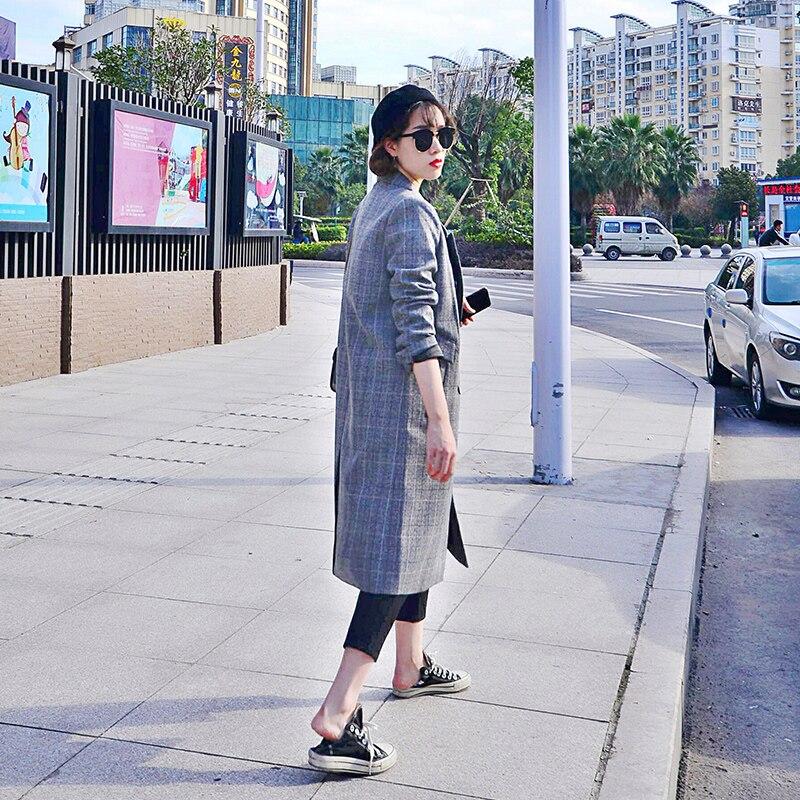 Plaid Pour Long Rétro De Costume Veste 2018 Femmes Automne Mode Nouveau Dame Tranchée Bureau Coréenne J18ca20052 Blazer Manteau Femelle AqwAH1Er