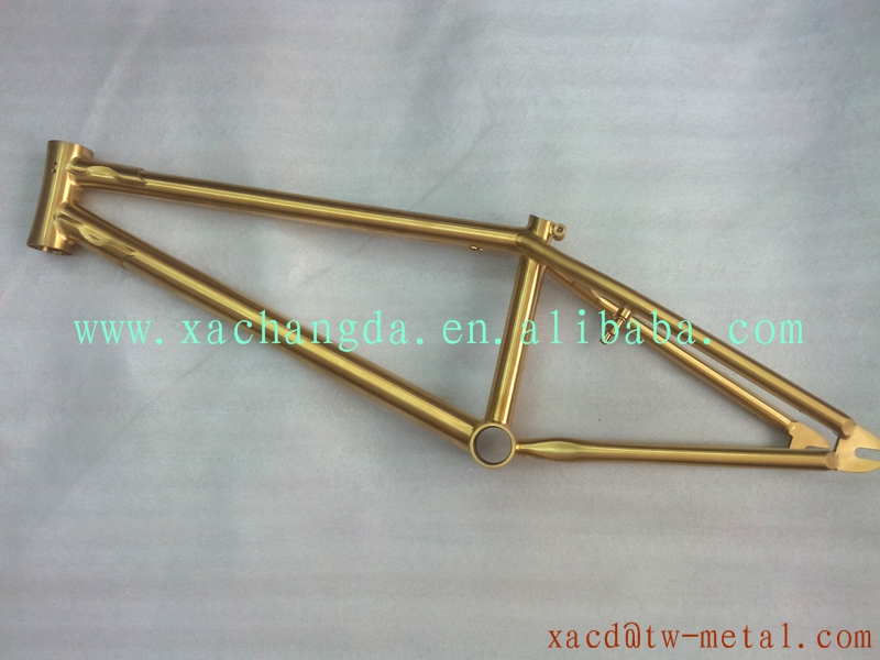 golden anodized titanium bmx bike frame customized super light bmx bicycle frame made golden anodized titanium bmx bike frame