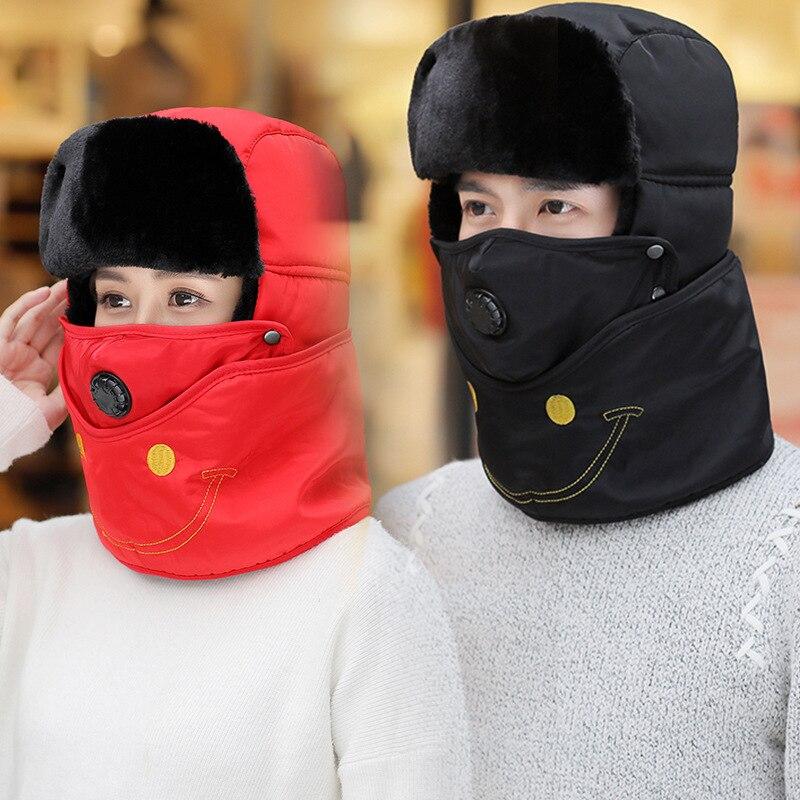 Russian Hat Cycling-Hat Trapper-Hats Earflap Winter Women Unisex Hooded-Cap Wind-Prevent