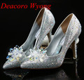 Free shipping female sweet Diamond Flower Wedding pumps, Women's Fashion Cinderella's Crystal Pumps, Party Heels 34-41
