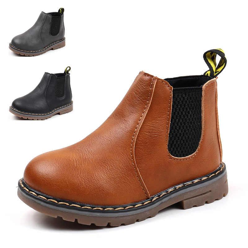 الاطفال حذاء من الجلد الفتيات الفتيان الأزهار زهرة طباعة تشيلسي أحذية الفتيات الخريف مارتن الأحذية الأطفال الشتاء أحذية حجم 21-36