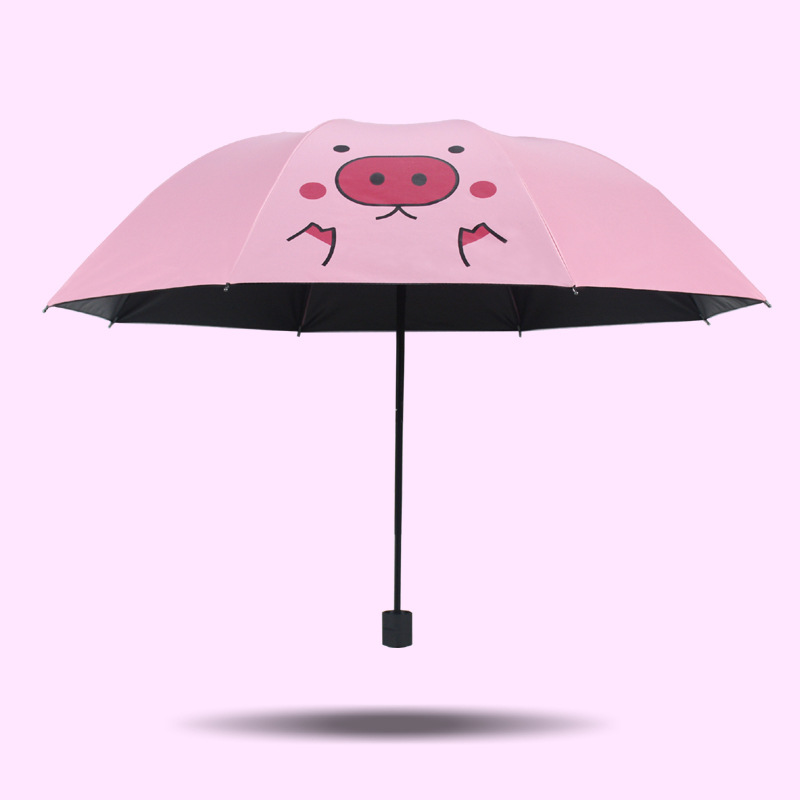 Sun umbrella lovely pink love girl heart sun umbrella black plastic uv shield windshield umbrella soft umbrella shade in Umbrellas from Home Garden