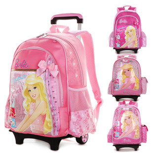 2015 New Children School Bags Trolley Bag With Wheels Travel Rolling Backpack Removable Book Kids Cute Carton Schoolbag In From Luggage