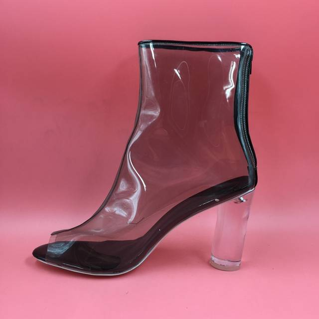 26c023270b4 Real Photo Jelly Shoes Ankle Boots Women See Through Plastic Peep Toe Boots  Custom Color Block Heels 4 Inch Runway Boot