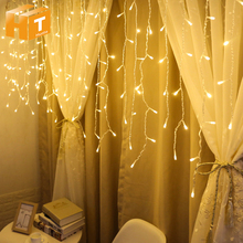 Curtain LED Light string 220V 4m 96LEDs 5m 216LEDs for New Year  / Party Christmas Outdoor Decoration Lighting