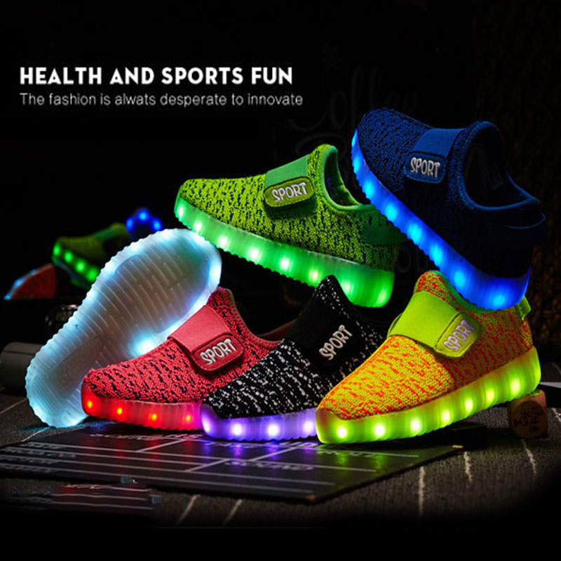 Size 25-36 Kids Led USB Recharge Glowing Shoes Children's Hook Loop Shoes Children's Glowing Sneakers Kids Led Iuminous Shoes(China)