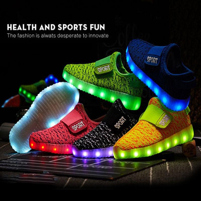 Size 25-36 Kids Led USB Recharge Glowing Shoes Children's Hook Loop Shoes Children's Glowing Sneakers Kids Led Iuminous Shoes