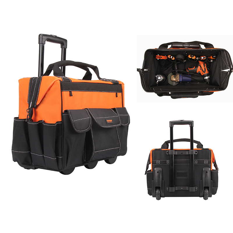 Tool Backpack Tool Bag Thicken Tools Storage Bags Electrician Tool Box Large Capacity Multi-pocket Bags With Trolley W Logo