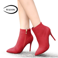Fashion Women Boots Plus Cotton Warm Sexy Pointed Toe Thin Heels Suede Ankle Boots Female Red