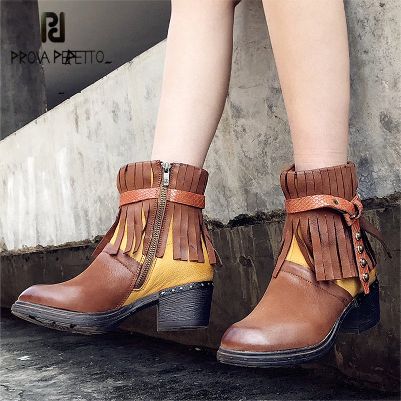 Prova Perfetto Fringed Ankle Boots for Women Female Genuine Leather Platform Rubber Martin Boots Strap Chunky Heel Botas Mujer prova perfetto hollow out women ankle boots sexy chunky high heel boots genuine leather straps platform botas mujer women pumps