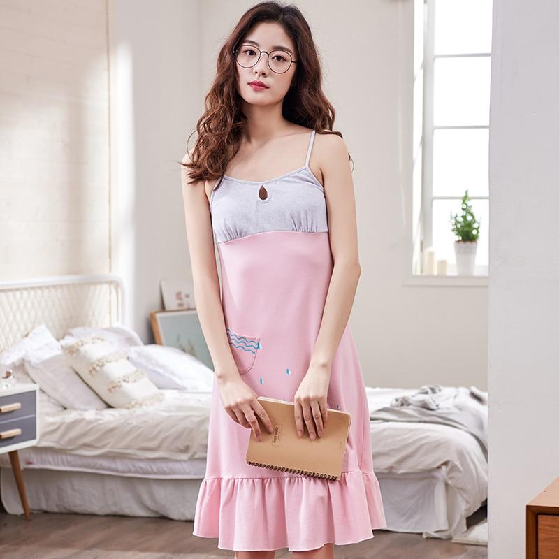 100% Cotton Sleepwear Summer Style Temperament Sexy Nightdress Woman Lovely Pijamas Girl Summer DressTemptation Women Nightshirt