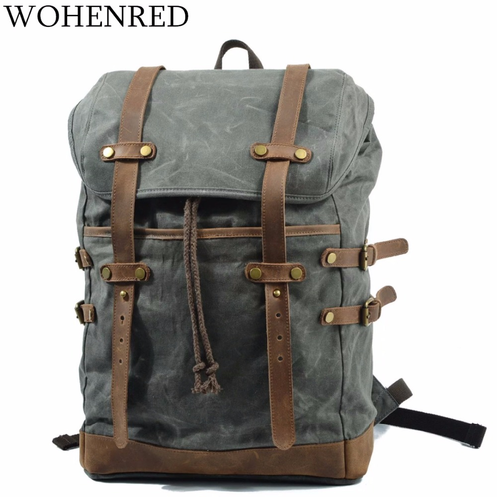 Waterproof Men/'s Canvas+Real Leather Backpack Sport Travel Bag 17'' Laptop Bag