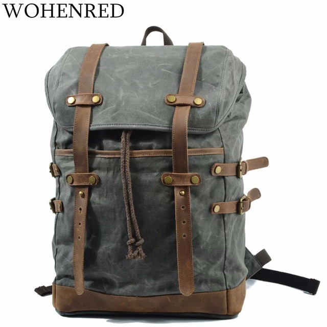2abad308ed2e Luggage Men s Leather Canvas Backpack Large School Bag Travel Rucksack  Bagpack Vintage Military Waterproof Laptop backpack Male