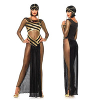Role playing 2018 Halloween Game Suit Sexy Transparent Cleopatra Clothing Stage Costume Cosplay Uniform Lingerie